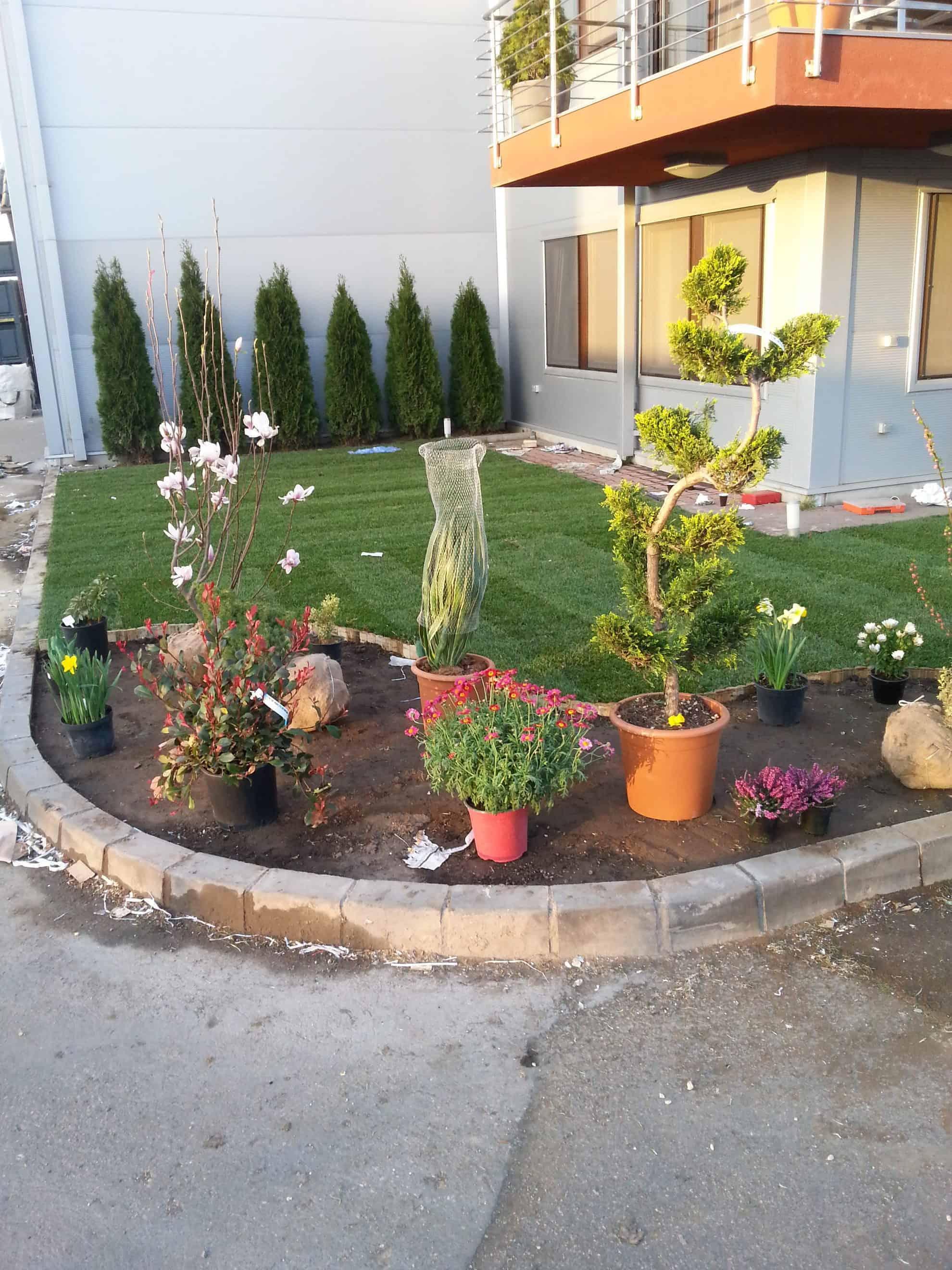 Átalakítás, növénysáv kialakítása a gyepben